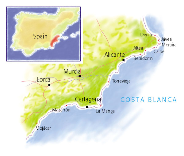 villa map for Costa Blanca