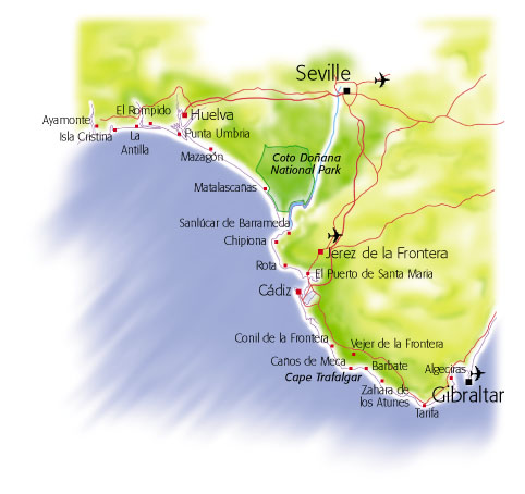 Villaseek Costa de Luz map